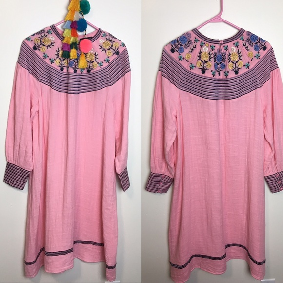 Antik Batik Dresses & Skirts - Antik Batik Pink Embroidered Dress